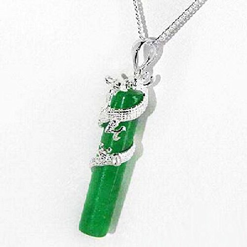 White Gold Plated Dragon Coil Emerald Green Jade Stick Pendant Necklace