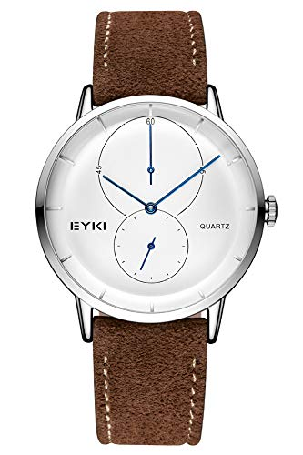 (/ Men Watch Leather Strap Atmospheric Fashion Leather Strap Quartz Watch Waterproof Watch Men Man Fashion Gift (Suede Brown with White Plate)