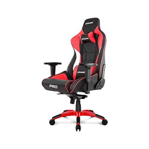 AKRacing Masters Series Pro Luxury XL Gaming Chair with High Backrest, Recliner, Swivel, Tilt, 4D Armrests, Rocker & Seat Height Adjustment Mechanisms, 5/10 Warranty - Red AKRacing