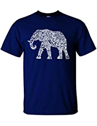 Adult Casual Fashion Graphic Elephant White T Shirt