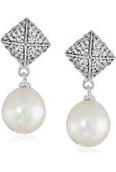 Sterling Silver White Oval Freshwater Cultured Pearl (8-9mm) and Swarovski Zirconia Pyramid Drop Earrings