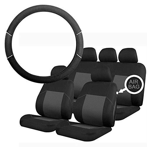UKB4C Grey & Black Steering Wheel & Seat Cover set for Saab 9-3 93 All Models: