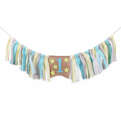 - QIYNAO Handmade Star Yellow and Blue One Banner - First Baby Birthday Decorations Burlap Highchair Banner
