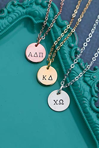 Dainty Sorority Necklace - DII ABC - Greek Letter Big Lil Sis Rush Week - Alpha Chi Omega Xi - Kappa Delta - Silver Rose Gold Charm Gift - 1/2 Inch 12MM Discs