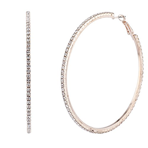 Gold Tone Accessories (Lux Accessories Rose Gold Tone Pave Crystal Rhinestone Large Hoop Earrings)