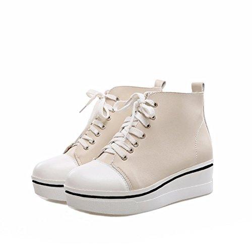 Anti Leather Platform Apricot AdeeSu Bandage Womens Bottom Skidding Imitated Boots qaxfEt0