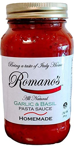 Romano's Pasta Sauce Garlic Basil ALL NATURAL 26 oz no added sugar NO GMO by Romano's Pasta Sauce