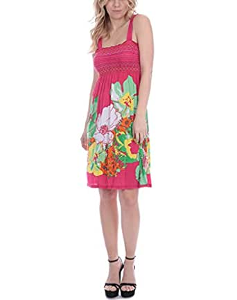 NY Deal Women's Smoked Tube Dress Cover Up, 17-Pink, Medium