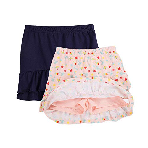 UNACOO 2 Packs 100% Cotton Tiered Ruffle Skirt with Elastic Waistband for Girls(Pink Printed+Navy, l(9-10T))