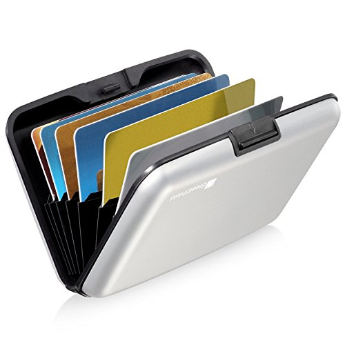 GreatShield RFID Blocking Wallet [8 Slots | Aluminum] Portable Travel Identity ID/Credit Card Safe Protection Card Holder Hard Case for Men and Women (Silver)