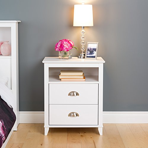 Prepac Yaletown 2 Drawer Tall Nightstand, White 2 Drawer Glass Nightstand