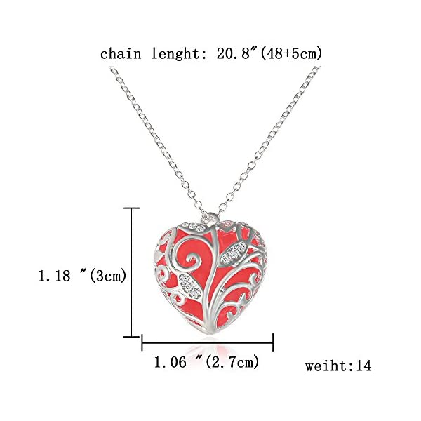 RINHOO Steampunk Magical Fairy Glow in The Dark Heart Charms Pendant Necklace White Gold Plated 4