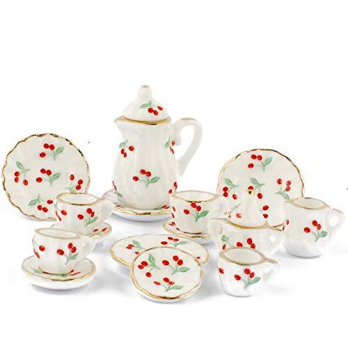 NW 1 Set 15 pieces Cherry Pattern Ceramics Tea Cup Set Lovely Dollhouse Decoration Set Dollhouse Kitchen Accessories
