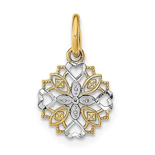 (14k Two-tone Gold with White Rhodium Plated Cut-Out Heart Edge Flower Small Charm Pendant)