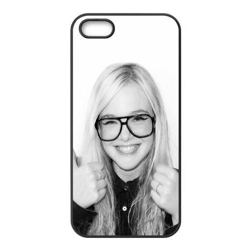 Elle Fanning Sexy coque iPhone 5 5S cellulaire cas coque de téléphone cas téléphone cellulaire noir couvercle EOKXLLNCD23465