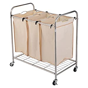 Amazon Com Laundry Rolling Hampers 3 Section Bag Sorter