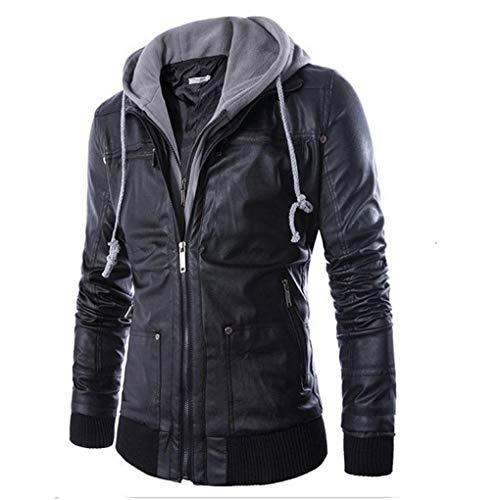 Aurorax-Clearance Mens Slim Fit Jackets,Leather Hoodies Sweatshirt Autumn Winter Warm Motorcycle Zip-up Coats Outwear (Black, Asian L=Bust:42.5
