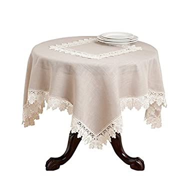 Fennco Styles Venetto Lace Trimmed Elegant Tablecloth, Taupe Color, (72  Square)