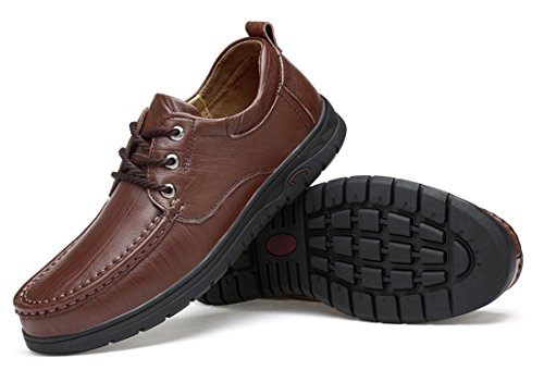 TDA Men's Rubber Sole Dark Brown Leather Fashion Breathable Loafers Driving Lace-up Casual Business Shoes 7 M US by TDA (Image #4)'