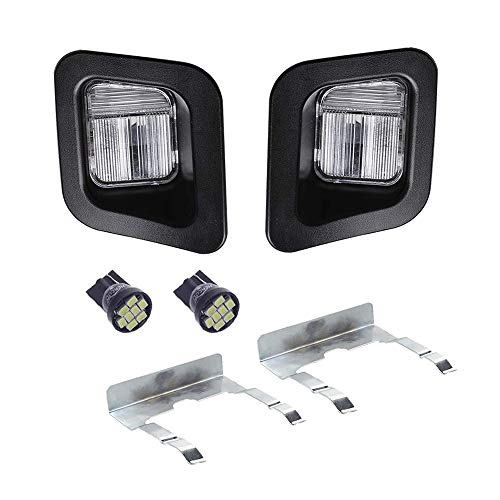 - HERCOO LED License Plate Light Lamp Lens Black Housing White Bulbs Clip Retainer Compatible with 2003-2018 Dodge Ram 1500 2500 3500 Pickup Truck Rear Step Bumper Aftermarket Repalcement, Pack of 2