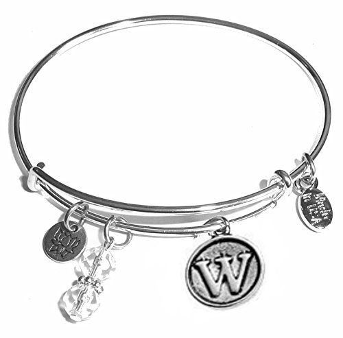 (Hidden Hollow Beads Initial Expandable Wire Bangle Bracelet, in The Popular Style (W))