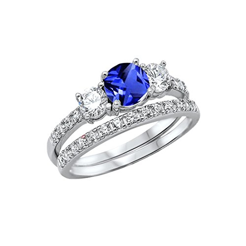 (3-Stone Wedding Bridal Set Ring Band Round Simulated Blue Sapphir 925 Sterling Silver, Size-7)