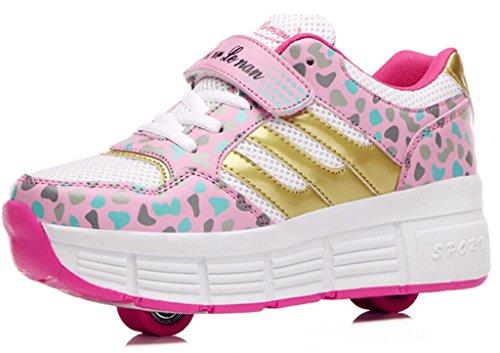 DADAWEN Boy's Girl's Single Wheel Double Wheel Skate Shoe (Toddler/Little Kid/Big Kid) Pink US Size 12 M Little Kid