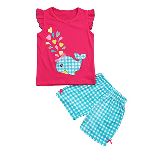 Toddler Baby Girls Summer Outfits Sleeveless Whale Spray Printed Pink Top + Blue Plaid Bow Shorts 2Pcs (Pink, 4-5T)