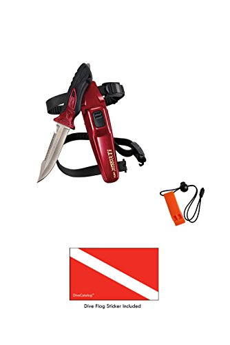 (Tusa X-Pert II Titanium FK-940TI Metallic Red (MDR) & DiveCatalog's Orange Whistle w/Lanyard & Dive Flag Sticker)
