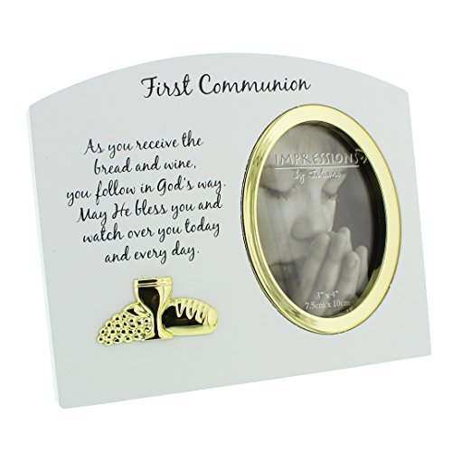 Oaktree Gifts White Wooden Gold Icon 1st Holy Communion Photo frame 3 x 4