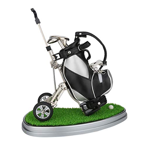 10L0L Mini Desktop Golf Bag Pen Holder with Lawn Base and Golf pens 5-Piece Set of Golf Souvenir Tour Souvenir Novelty Gift Idea Golf Golfing (Silver and Black)