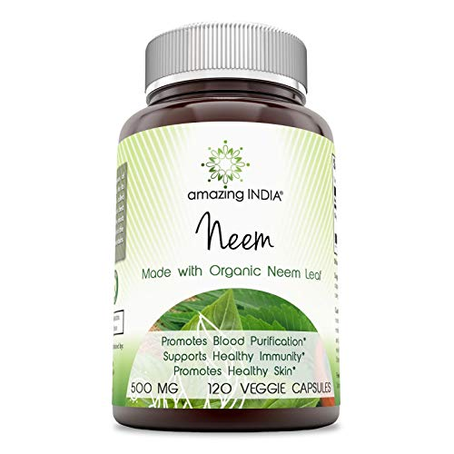 Amazing India Neem (Made with Organic Neem Leaf) 500 mg 120 Veggie Capsules (Non-GMO) Raw, Vegetarian- Gluten-Free, Plant-Based Nutrition - Promotes Blood Purification, Healthy Immunity & Healthy Skin