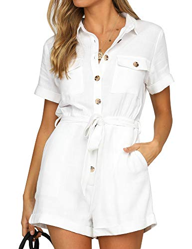 - GRAPENT Women's White Casual Short Sleeves Button Down Pocket Belted Jumpsuits Rompers Size X-Large (Fits US 16-18)