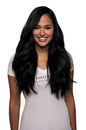 "IRRESISTIBLE ME – Clip in Hair Extensions Jet Black (Color #1) - 100% Natural Remy (Remi) Human Real Hair – Straight Silky Touch – Clips Pieces Full Head Set - Different Weight (Grams) and Length (Inch) (#1-14""-100g)"