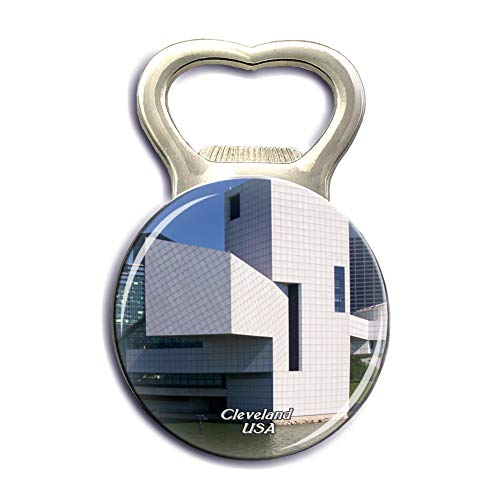 Jollin USA America Rock & Roll Hall of Fame Cleveland Refrigerator Magnet Strong Bottle Opener Fridge Magnet Stickers Crystal Glass City Tourist Souvenirs Kitchen Whiteboard ()