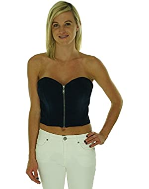 Guess Strapless Zip-Front Crop Top