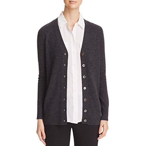 Private Label Womens Cashmere Ribbed Trim Cardigan Top Gray M by Private Label