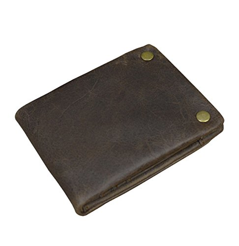Men's Genuine Leather Snap Pocket Wallet Brown Coin Card Case Trifold Short Purse - Genuine Boys Shorts