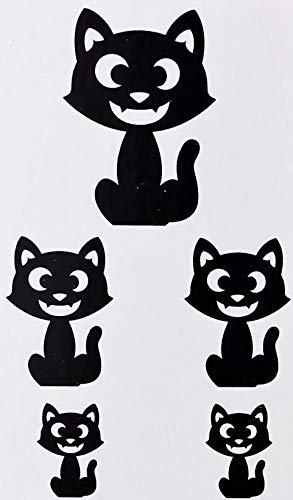 A&T Designs Pack of 5 Black Glitter Cats - Assorted Sizes Cardboard Cutout Decorations for Halloween Party ()