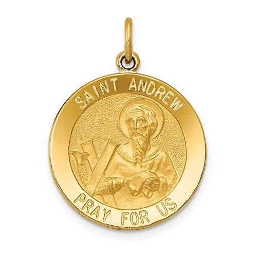 14k Yellow Gold Saint Andrew Medal Pendant Charm Necklace Religious Patron St Fine Jewelry Gifts For Women For Her (Ps2 Slide Card)