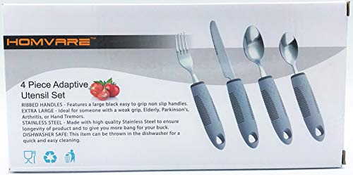 - Homvare Easy Grip Cutlery Utensil Set of 4 Dining Eating Aid (Dessert Spoon, Tea Spoon & More)