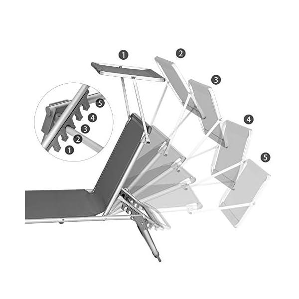41gTvHve3PL SONGMICS Sonnenliege, Liegestuhl, Gartenliege, mit Sonnendach, Rückenlehne verstellbar, klappbar, leicht, 55 x 193 x 31…