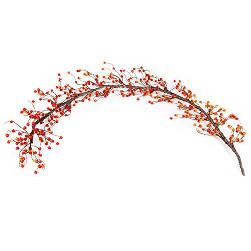 Bittersweet Garland Decorations - Orange & Yellow Berries on Vine - 4 Feet - Fall Decor