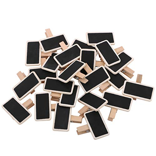 - Dedoot 100pcs Mini Rectangle Chalkboard Decorative Wooden Chalk Board Clip, Message Chalk Board Signs Labels Clips for Wedding Kitchen Party Decor Note Taking