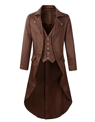 DarcChic Mens Gothic Tailcoat Jacket Black Steampunk VTG Victorian Coat (M, Brown) -