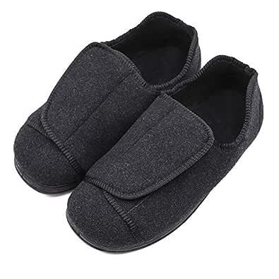 Men's Diabetic Shoes Arthritis Edema Slippers Comfy Warm Adjustable Swollen House Shoes Black
