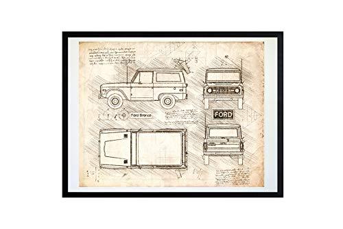 DolanPaperCo #429 Ford Bronco (1966-77) Art Print Art Print, da Vinci Sketch - Unframed - Multiple Size/Color Options (16x20, Vintage)