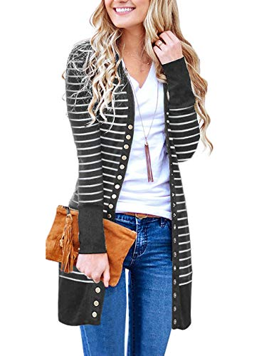(MEROKEETY Women's V Neck Striped Long Sleeve Snap Button Down Ribbed Contrast Color Cardigan)