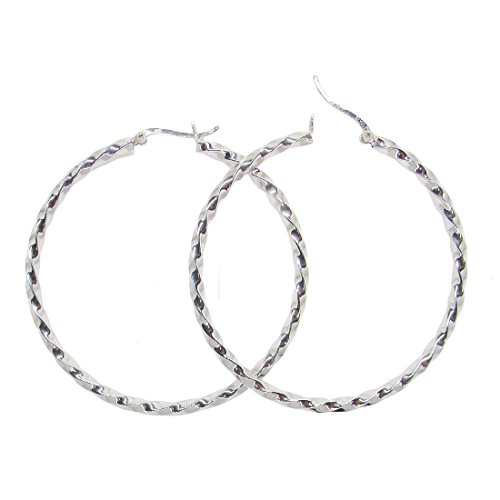 Sterling Silver Twisted Tube (Sterling Silver Twisted Hoop Earrings, (3mm Tube) (60mm))