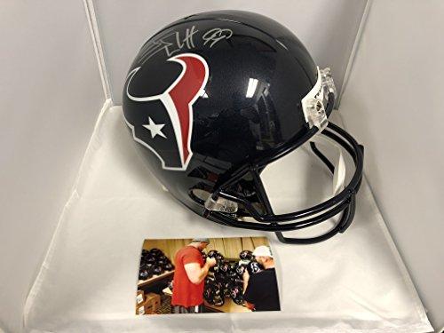 JJ Watt Texans Signed Autographed Houston Texans Full Size Helmet Watt Player Hologram & COA W/Photo From Signing
